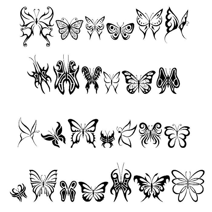 Tribal Butterflies Dingbats - TattooWoo.com
