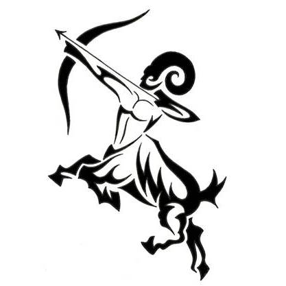 Sagittarius Zodiac Tribal Tattoo Design
