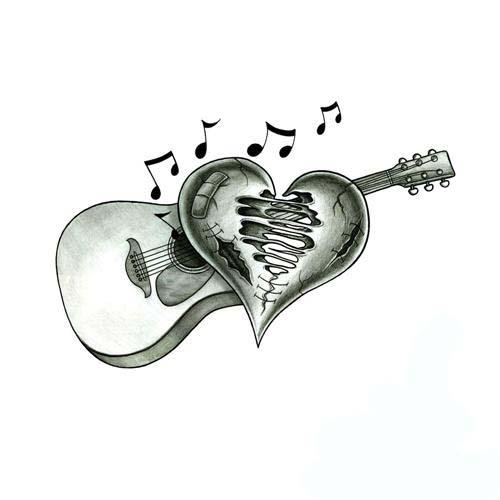 Beaten Up Heart And Acoustic Guitar Tattoo Design Tattoowoo Com