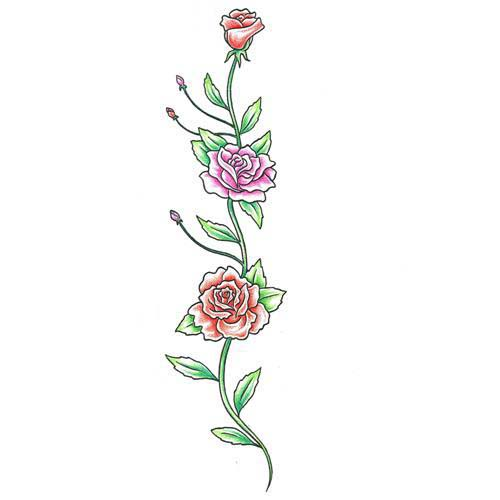 Colorful Rose Vine Tattoo Design Tattoowoocom