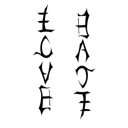 Love Hate Tattoo Design on Ambigram Tattoos  Tattoo Designs Gallery   Unique Pictures And Ideas