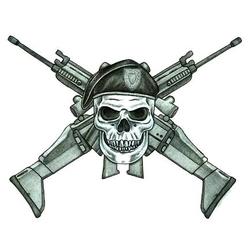 Skull and Crossed Rifles Tattoo Design - TattooWoo.com