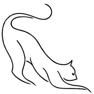 simple linear cat tattoo design. Black Bedroom Furniture Sets. Home Design Ideas